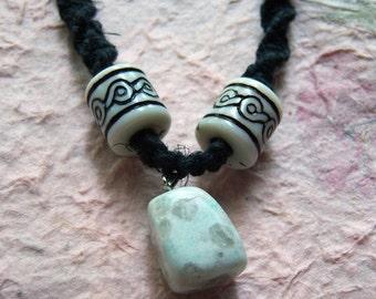 Black Hemp Necklace With Howlite Stone Pendant