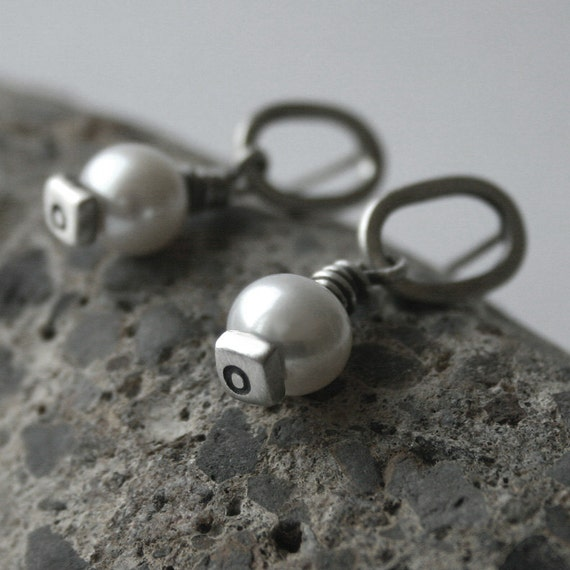 Reserved for Ray - Freshwater Pearl Sterling Silver Post Earrings - Aim High