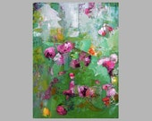 Original abstract floral painting, cool fresh green, magenta, pink, contemporary art