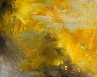 Abstract painting, on offer, 11 x 14 inches, gold, amber, grey