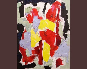 "Original abstract painting, small, bright, bold, affordable art, ""February Dreams of May"" 12 x 9"