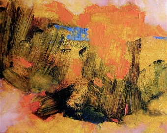 Painting, original autumn abstract landscape, orange, 11.8 x 19.3 inches