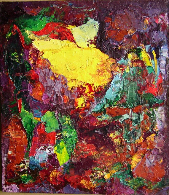 "Original painting, abstract landscape, bright Fauve Expressionist colours, 12 x 10 approx, 30 x 26 cm, ""September"""