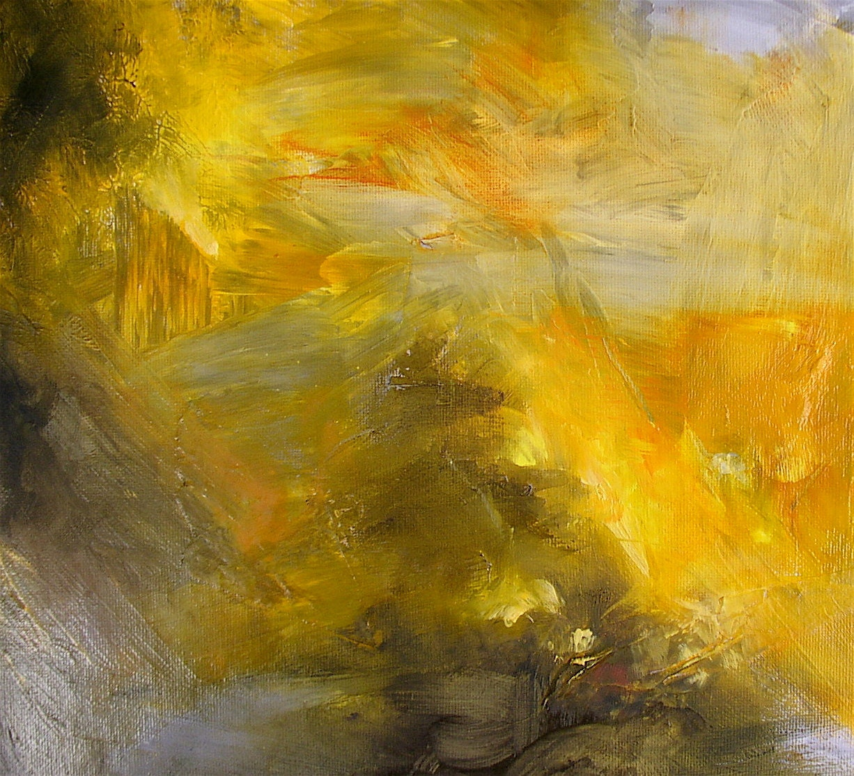 Abstract oil painting gold amber grey 11 x 14 inches for Gold paintings on canvas