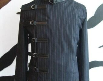Pinstripe Buckle Jacket Supernal Clothing Goth gothic punk cyber industrial clubwear steampunk sci-fi costume menswear mens