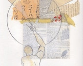 collage on paper, male figure, Constellation II