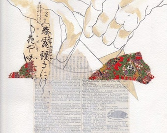 hands, original collage on paper, Constellation III, 9 x 11
