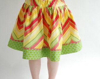 Favorite Twirl skirt in gold chevron, sizes 3 4 5 6 7 8