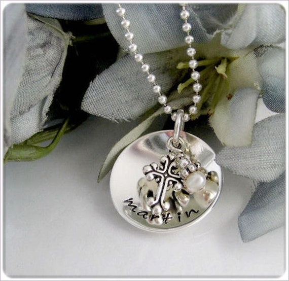 Personalized Necklace, Hand Stamped Jewelry, Sterling Silver Faith Jewelry, Domed Name with Cross