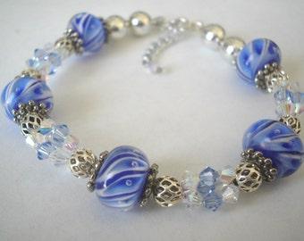 Blue Waves - Bracelet - Lots of SWAROVSKI CRYSTALS
