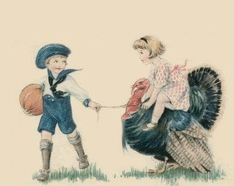Vintage Thanksgiving Day Children Ride Turkey fine art photographic print