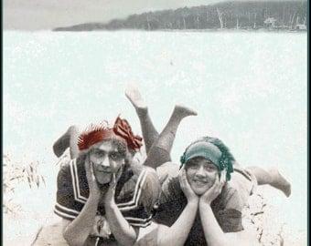 greeting card Bathing Suit Beauties Photo Greeting Card Vintage Image