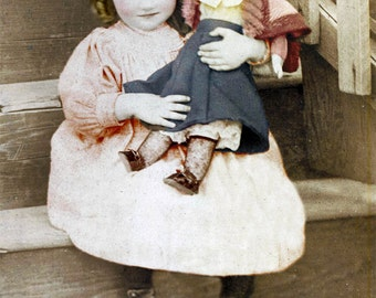 Sweet Little Ringlet Girl HOlds Large Doll on Stairs fine art vintage photo print