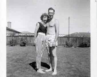 vintage photo GLenn and Bernadine STripes and Polka dots