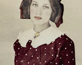 vintage photo Lovely Lola Polka Dot Dress Vintage Tinted Photo Print