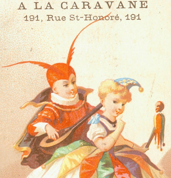 Vintage French Paris Jester Chocolate Collector Card Gauthier Caravane victorian trading card