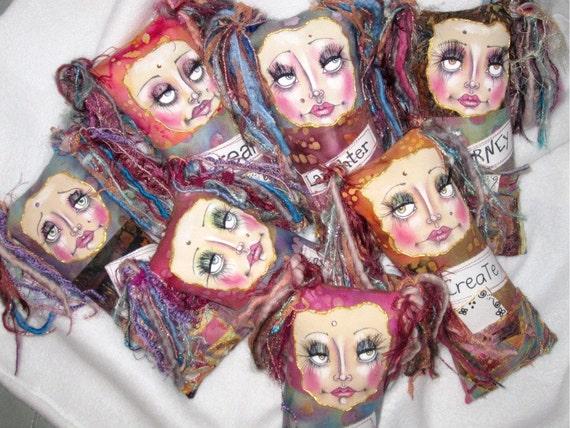 SALE---Fabric collaged art doll, keepsake