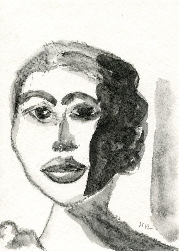 Model 1 // greeting card  graphite  ooak  female  portrait