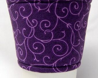 Coffee Cozy/Cup Sleeve Eco Friendly Slip-on, Teacher Appreciation, Co-Worker Gift, Bulk Discount: Purple Vines