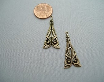 Pair of Vintage Victorian Antique gold Ornate Tri-Angle Drop Jewelry Findings