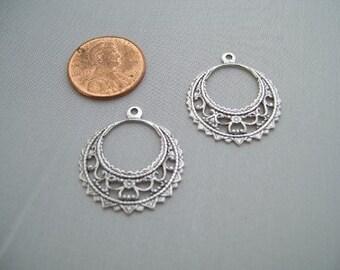 Pair small Victorian Art Deco silver Vintage style  Filigree Jewelry Findings  hoop Earring Pendant