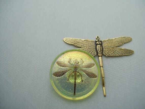 Large Czech glass button Dragonfly gold large antique gold brass dragonfly jewelry making