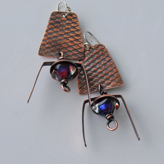 Copper and Lampwork Earrings