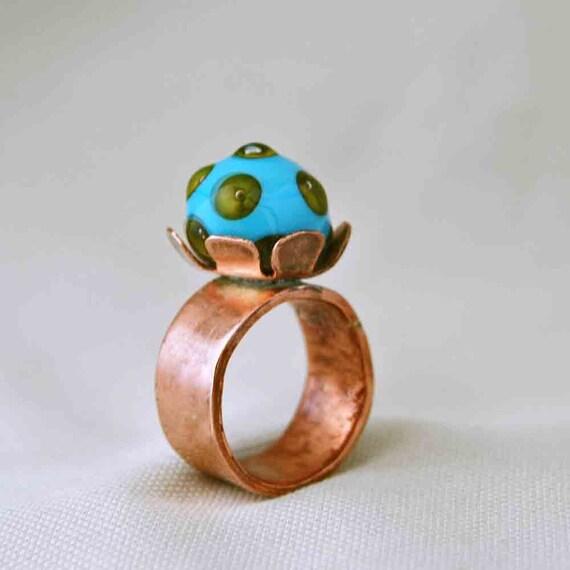 Copper Flower Ring 2