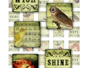 Antique Sheet Music & Birds 1x1 inch digital collage sheet inchies 25mm square words text typography