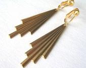 Art Deco Clip On Earrings, Gold Ear Clips, Brass Comet Tails, Folded Metal Clipons, Long Dangle Earrings, Metallic