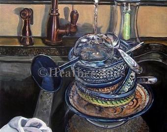 Polish Pottery, Boleslawiec pottery, still life art Print, kitchen artwork wall decor, dishes, pottery bowl stack,dirty dishes, yellow
