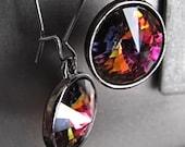 Kaleidoscope - Swarovski Rivoli Crystal Earrings, Rainbow Colors, Multicolor Crystal, Black Gunmetal Bezel Settings - Modern Jewelry