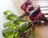 Fuchsia-Violet Flower Earrings, Spring Green Glass Leaves, Antiqued Copper Long Dark Pink Purple Flower Earrings, Gift for Gardener