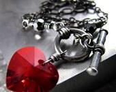 Tough Love - Red Heart Necklace, Swarovski Crystal Heart Pendant, Black Chain, Valentine's Gift for Girlfriend, Rocker Girl, Gothic Love