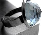 Slate Blue Crystal Ring, Vintage Swarovski Crystal, Geodesic Dome, Montana Blue Crystal, Adjustable Cocktail Ring - Window to the Soul