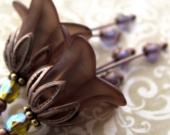 Chocolate Brown Flower Earrings, Blue and Olive Accents, Romantic Fall Autumn Jewelry, Vintage Style Inspired Jewelry, Fall Fashion