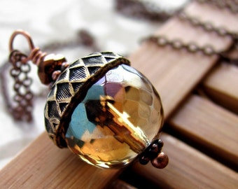 Vintage Style Acorn Necklace - Honey Faceted Glass Acorn Pendant, Antiqued Copper Chain, Gift for Gardener, Gift for Nature Lover