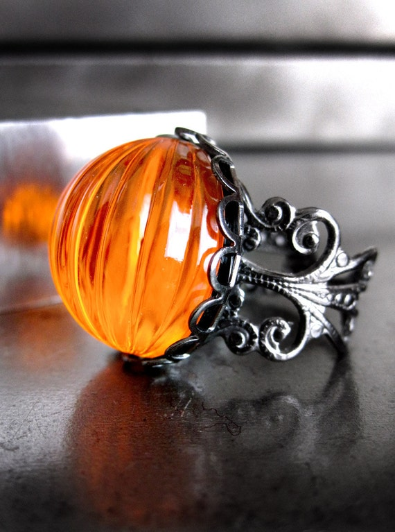 Neon Orange Pumpkin Ring, Halloween Jewelry, Day Glo Bright Orange Cocktail Ring, Black Gunmetal Adjustable Ring, Dark Goth Gothic Ring