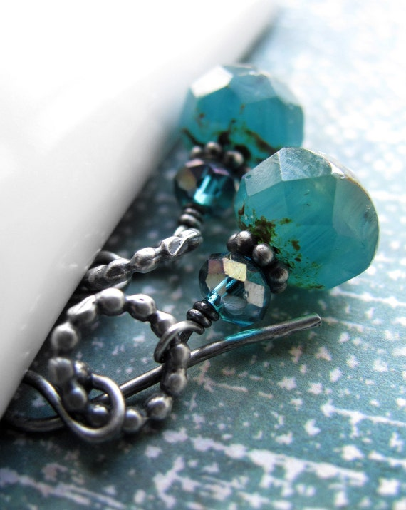 Small Aqua Earrings, Oxidized Sterling Silver, Petite Teal Earrings, Rustic Turquoise Aqua Faceted Glass Beads, Aqua Teal Silver Earrings