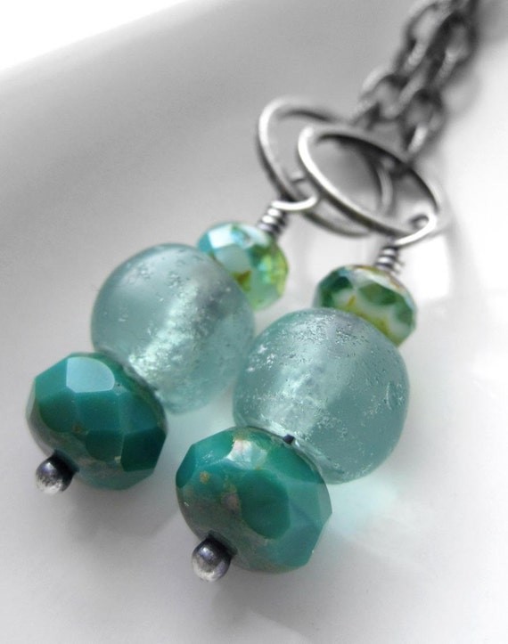 Aqua Teal Sea Glass Earrings - Long Silver Chain Earrings, Ocean Water, Tropical Vacation, Summer Fashion, Beach Jewelry, Nautical Jewelry