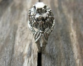 Women's Engagement Blossom Ring - remixed antique ring cast in sterling silver diamonds facet stones