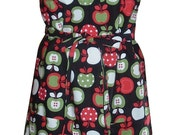 Apron kitchen Apples food Full length handmade adjustable pockets bib shirt weight cotton long ties