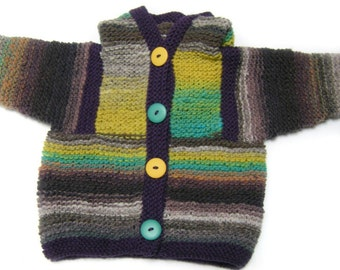 Wool hoodie baby sweater jacket 6 to 12 months gray yellow teal SALE
