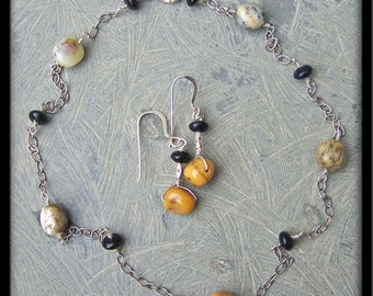 Dendritic Agate, Onyx, and Sterling Silver Necklace and Earrings Set
