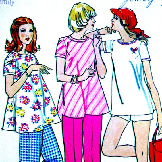 Retro Maternity Top Pants and Shorts Simplicity 6361, Vintage Jiffy Sewing Pattern Size10 Bust 32