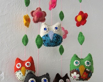 Baby  Mobile Owl - Made to Order - with wings or flowers