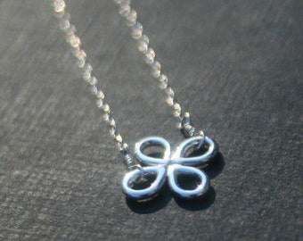 4 petal flower necklace, sterling silver