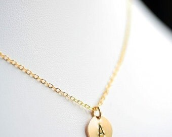 Personalized Petite Initial in 14K Gold Filled - Hand Stamped Disc Necklace