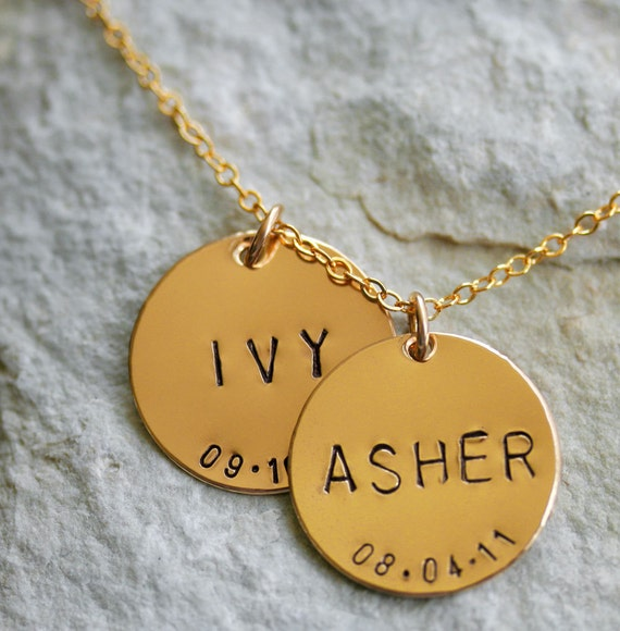 Featured in ivillage.com  - Two Large 7/8 inch Hand Stamped Custom Gold Filled Pendant and Necklace