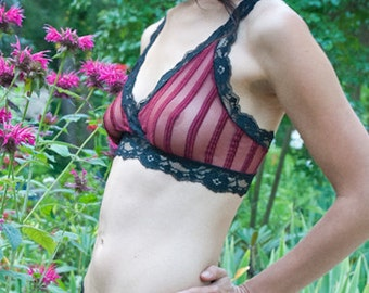 SALE See Through Bra - Burgundy Red Sheer Striped 'Summersweet' Bra - Made To Order Womens Lingerie
